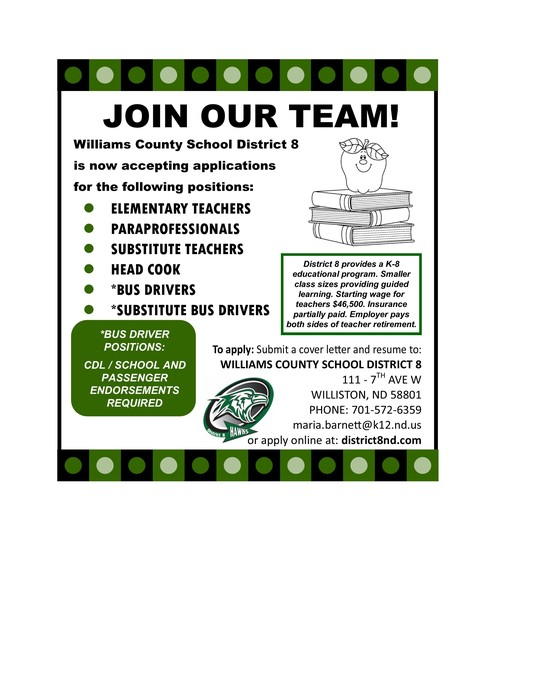 We're Hiring! Elementary Teacher, Paraprofessionals, Head Cook,  Bus Drivers.