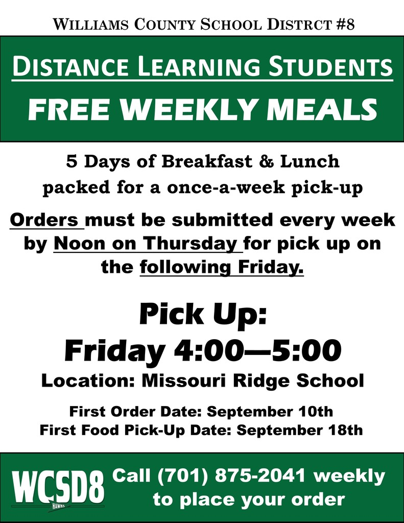 Free Weekly Meals for Distance Learners